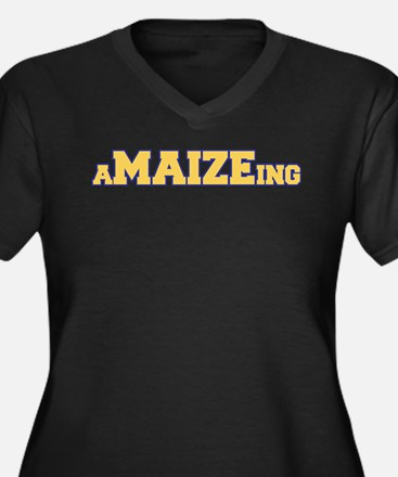 aMAIZEing Women's Plus Size V-Neck Dark T-Shirt