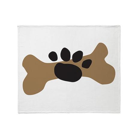 Dog Bone & Paw Print Throw Blanket