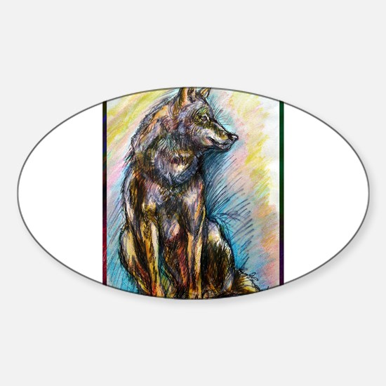 Wolf, colorful, Sticker (Oval)