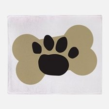 Dog Lover Paw Print Throw Blanket