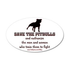 Save The Pit bulls 20x12 Oval Wall Peel