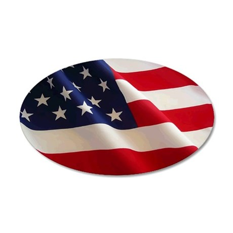 American Flag Oval Euro Sticker