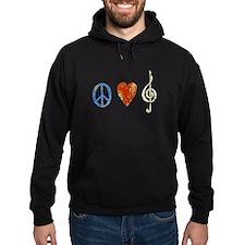 peace, love ,music D Hoodie
