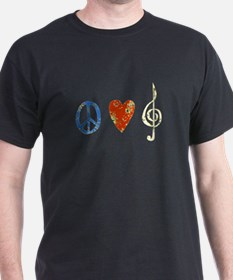 peace, love ,music D T-Shirt