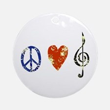 peace, love ,music D Ornament (Round)