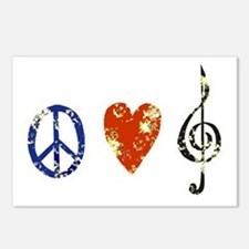 peace, love ,music D Postcards (Package of 8)
