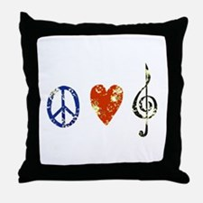 peace, love ,music D Throw Pillow