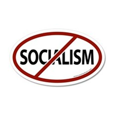 No Socialism 20x12 Oval Wall Peel