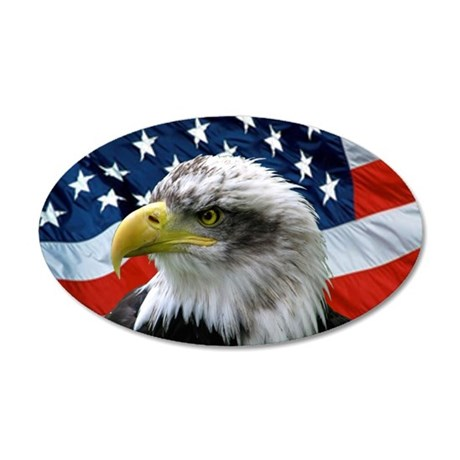 American Flag behind Bald Eagle 35x21 Oval Wall Pe