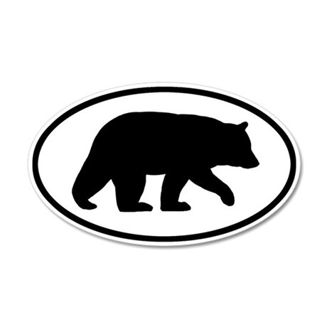 Black Bear 35x21 Oval Wall Peel