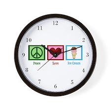 Peace Love Ice Cream Wall Clock
