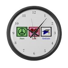 Peace Love Graduate Large Wall Clock