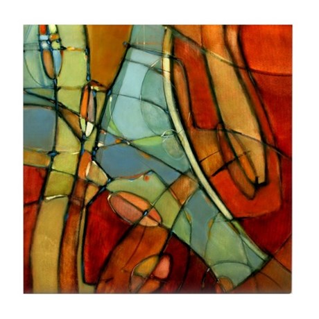 'Passage-L' Abstract Art Ceramic Tile Coaster