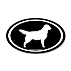 Golden Retriever Oval (wht on blk) Wall Decal