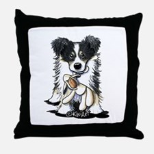 Tri-Color Border Collie Throw Pillow