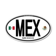 Mexico Euro-style Country Code 20x12 Oval Wall Pee