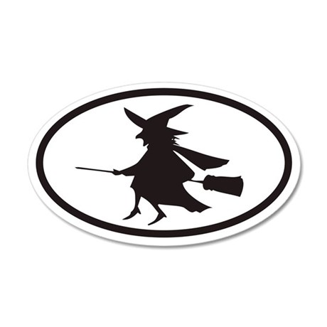 Flying Witch on a Broom Euro 20x12 Oval Wall Peel