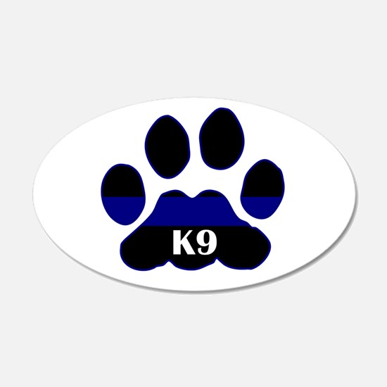 K9 Thin Blue 20x12 Oval Wall Peel