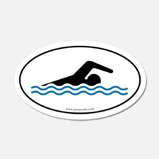 Swimming Auto Decal -White w/ Blue Water (Oval)