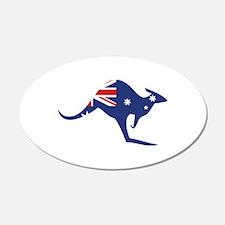 australian flag kangaroo 20x12 Oval Wall Peel