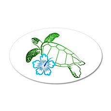 Sea Turtle Hibiscus Blue 20x12 Oval Wall Peel