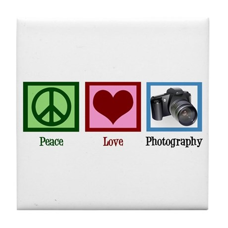 Peace Love Photography Tile Coaster