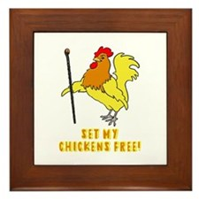 Set My Chickens Free Moses Rooster Framed Tile