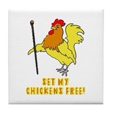 Set My Chickens Free Moses Rooster Tile Coaster