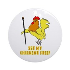 Set My Chickens Free Moses Rooster Ornament (Round