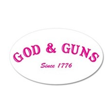 God and Guns 20x12 Oval Wall Peel