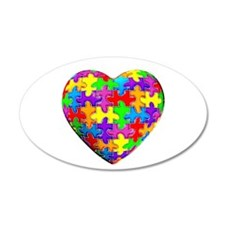 Jelly Puzzle Heart 20x12 Oval Wall Peel