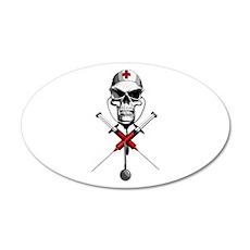 Evil Nurse Skull 20x12 Oval Wall Peel