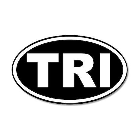 Triathlon TRI Oval Euro Sticker Black