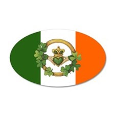 Irish Flag & Claddagh 20x12 Oval Wall Peel