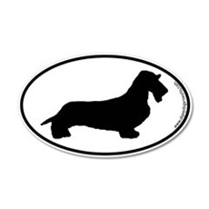 Wirehaired Dachshund SILHOUETTE 20x12 Oval Wall Pe