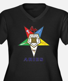 OES Aries Sign Women's Plus Size V-Neck Dark T-Shi