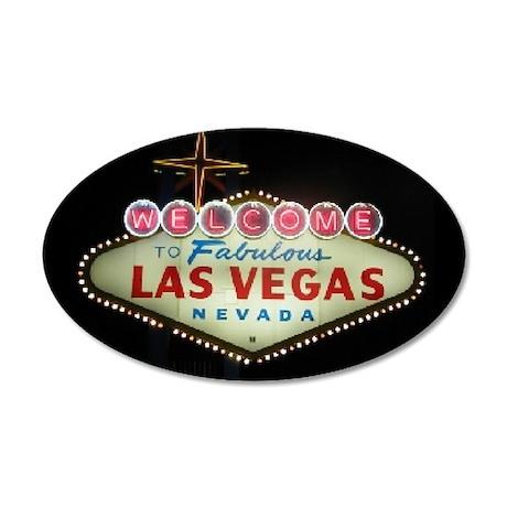 Las Vegas Sign Nighttime 35x21 Oval Wall Peel