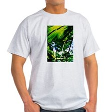 Rainforest Fan Palm Leaves Ash Grey T-Shirt