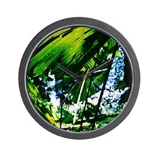Rainforest Fan Palm Leaves Wall Clock
