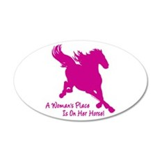 Woman's Place Is On Her Horse 20x12 Oval Wall Peel