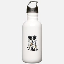 Tri-Color Border Collie Water Bottle