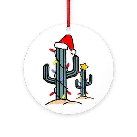 Santa Cactus Ornament (Round)