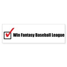 Win Fantasy Baseball League Bumper Sticker