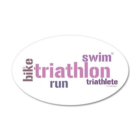 Triathlon Text - Pink 20x12 Oval Wall Peel