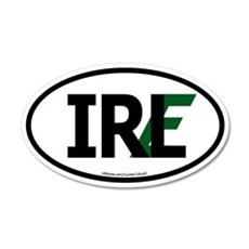 """IRL"" Ireland Euro Flag 1 20x12 Oval Wall Peel"