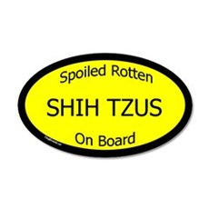 Spoiled Shih Tzus On Board 20x12 Oval Wall Peel