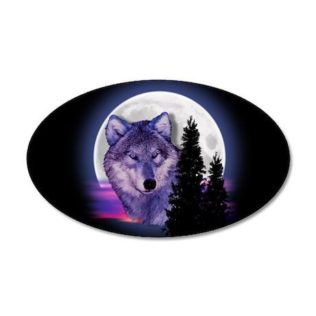 Moon Wolf 20x12 Oval Wall Peel
