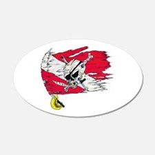 Red Dive Flag Skull 20x12 Oval Wall Peel