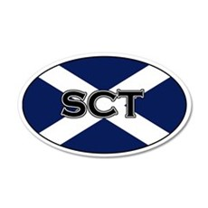 Scottish flag with text 20x12 Oval Wall Peel