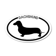 """Dachshund"" White 20x12 Oval Wall Peel"